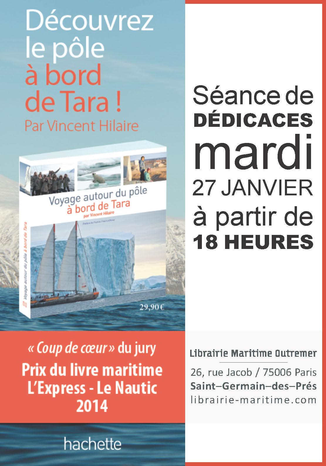 Flyer dédicace Voyage autour du pôle à bord de Tara - 27 janvier 2015